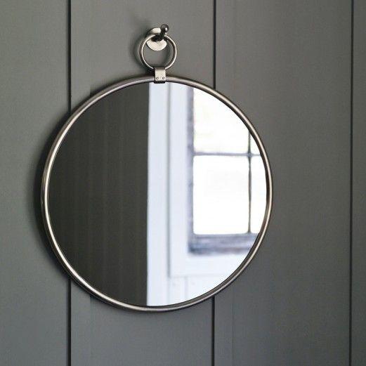 Indar Hanging Mirror & Hook, Matt Nickel