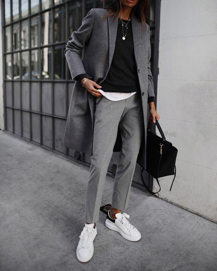 Grey coat | white trainers | Tomboy