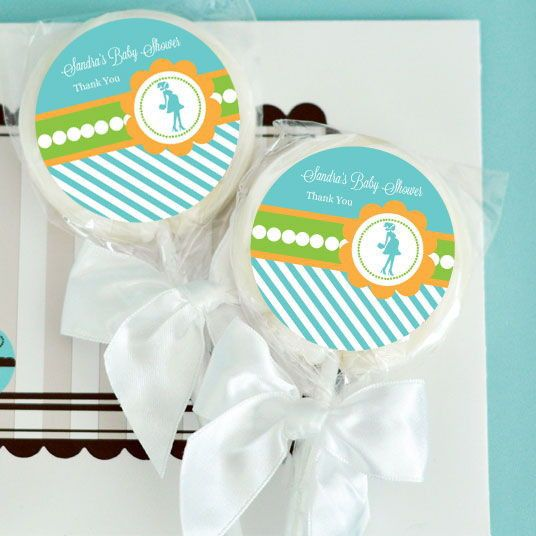 """Going to Pop - Blue Personalized Lollipop Favors. Add a little more """"POP"""" to your baby shower decor with these """"She's Going to Pop!"""" Lollipops. These delicious lollipops come with brightly colored labels that you can personalize with your baby boys name or a special message for a memorable party favor or vibrant addition to your candy buffet. Lollipops arrive separately from the labels. Some assembly required: affixing labels to lollipops. Due the personalization for this product, the..."""