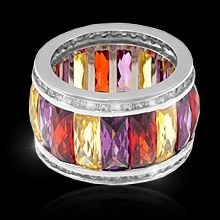 """""""Generations""""  $159.99 CAD -  This stunning sterling silver ring is sure to be an attention getter. It features rectangualr cut triple A cubic zirconias in an alternating colour pattern of citrine, amethyst and ruby, lined top and bottom with small clears. This ring is finished in rich rhodium and it sure to be a stunner for generations to come. Nickel and lead free. Size 8."""