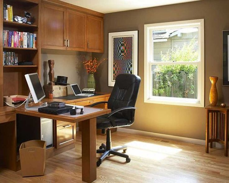 Modern Home Office Furniture House Interior Designs with wooden furniture and leather cair