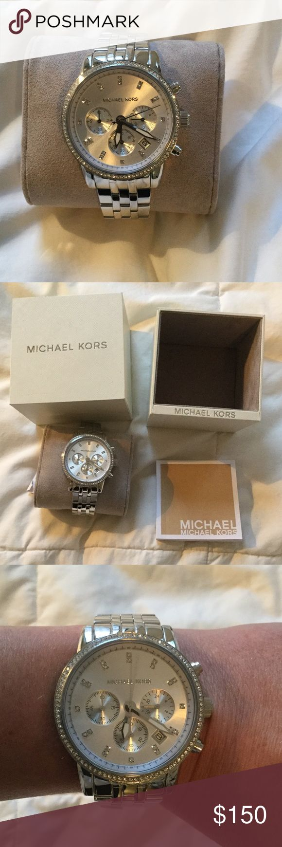 Michael Kors Chronograph Ladies Watch Brand new- still in original packaging. Stainless steel case with stainless steel bracelet model number MK6341. Analog, date display, Sub-dials display: 60 second, 60 minute and 24 hours. Water resistant to 100m/330ft. Dressy watch. Michael Kors Accessories Watches