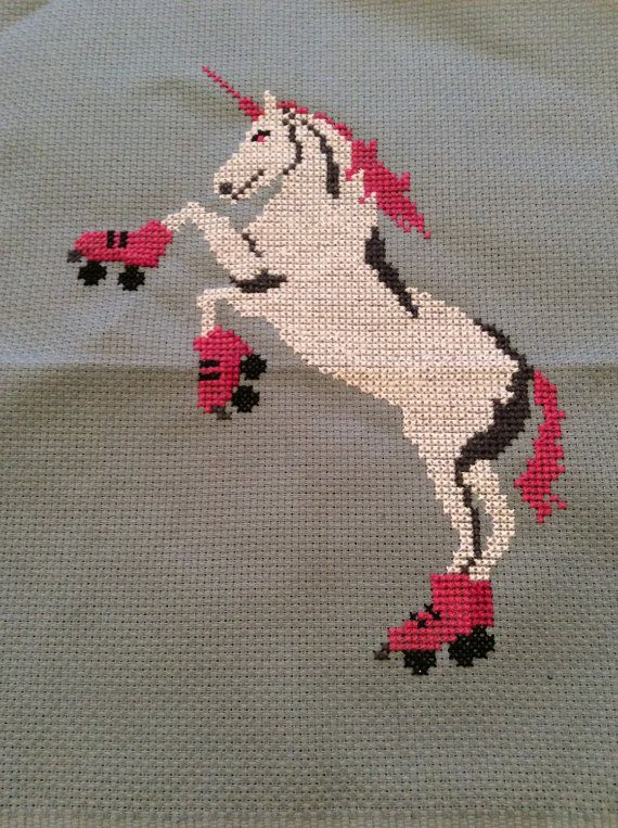 A cross stitch kit with our iconic roller skating unicorn image. Includes Aida fabric, floss, needle, pattern and instructions.  The completed piece will be suitable for framing in an 8x10 frame with a mat board. Do you already have all the supplies you need? Buy the downloadable pattern for three bucks here: https://www.etsy.com/listing/211088231/cross-stitch-pattern-roller-skating. US orders ship Priority Flat Rate Envelope to avoid crunching and scrunching. If pur...