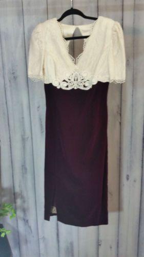 Jessica-McClintock-Vintage-size-7-8-Bridal-Dress-Velvet-Maroon-80-039-s-Ivory-Lace