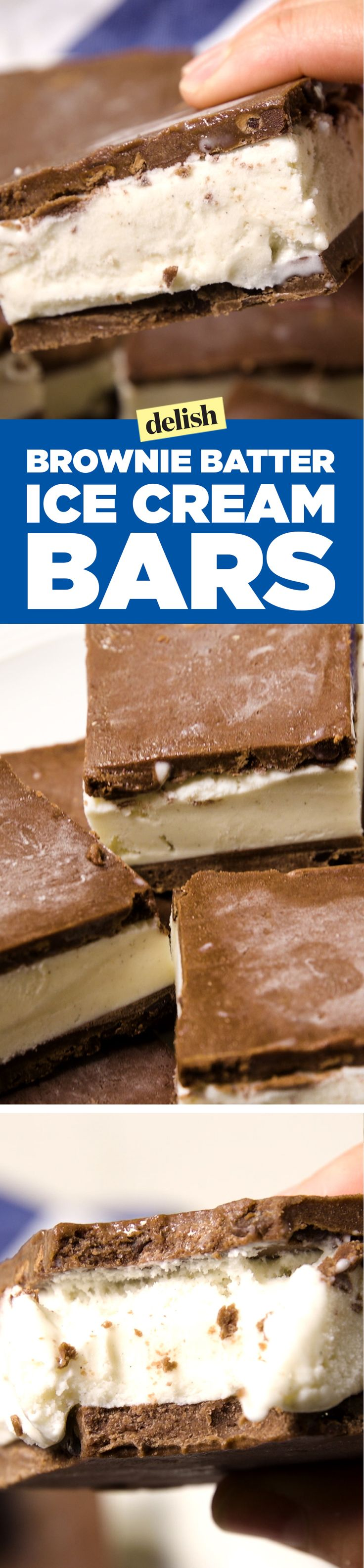 These brownie batter ice cream bars are really raising the dessert bar high. Get the recipe on Delish.com.