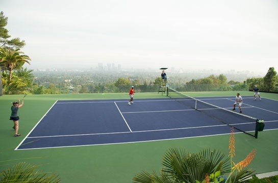A cliffside tennis court at the John Lautner–designed Sheats-Goldstein House in Los Angeles.
