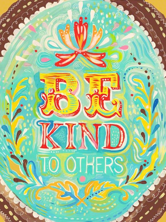 Be Kind to Others wrapped canvas by Katie Daisy
