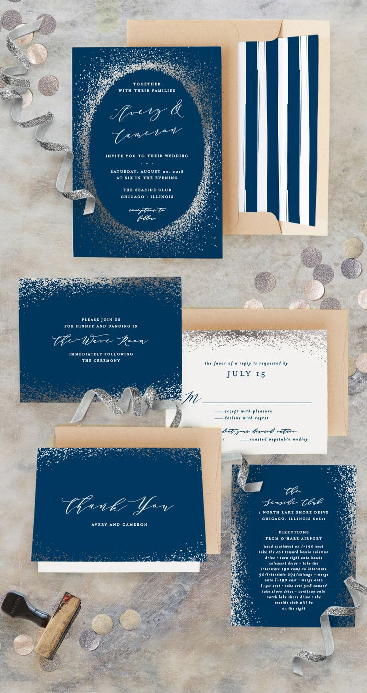 navy blue and kelly green wedding invitations%0A A sprinkling of magic and a fantasy abound  Plan your special day with  Minted artist Leehan Veenker u    s Sprinkling gold foilpressed wedding  invitation