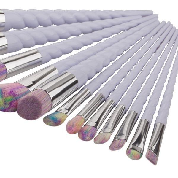 12pcs Cosmetics Multicolor Brush Set #white #makeup #makeupbrush #brush #brushset #white #whitehandle #rainbrowtip #goodquality #affordable