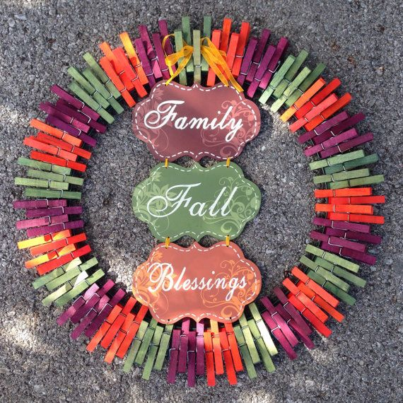 Fall Family Blessings clothespin wreath by ThreeDogWreaths on Etsy