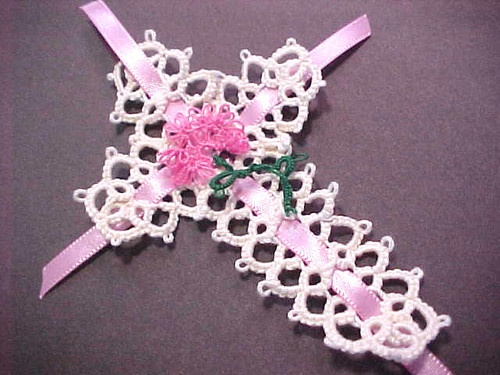 Tatted Bookmark Cross Flower Ribbon Cream Pink