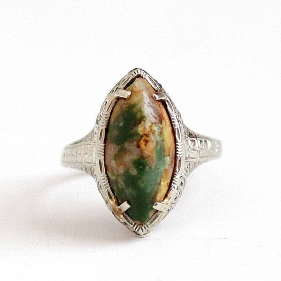 Sale - Antique 14k White Gold Filigree Turquoise Ring -Vintage Art Deco Size 9 3/4 1920s Green Brown Gemstone Fine Marquise Engraved Jewelry by Maejean Vintage on Etsy