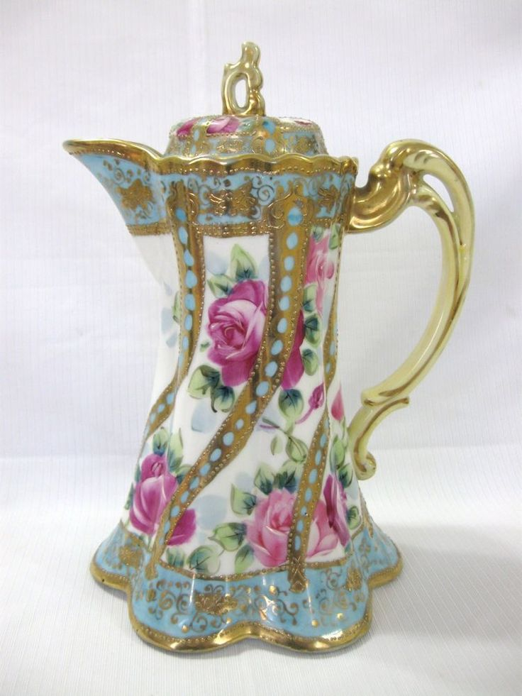 NICE ANTIQUE NIPPON HANDPAINTED COFFEE /CHOCOLATE POT Sold on eBay $250.00