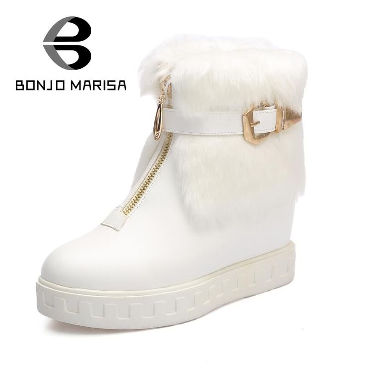 2016 Warm Ankle Boots Fashion Women Shoes Hot Hidden High Heels Wedges Round Toe Platform Fur Shoes Outdoor Casual Snow Boots alishoppbrasil