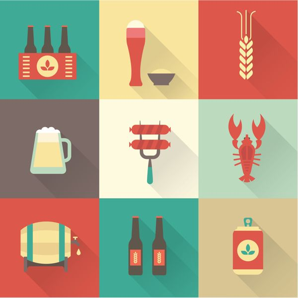Flat Icons by Irina Kerasoshvili, via Behance  Flat icons with stylized shadows, add a 3D look