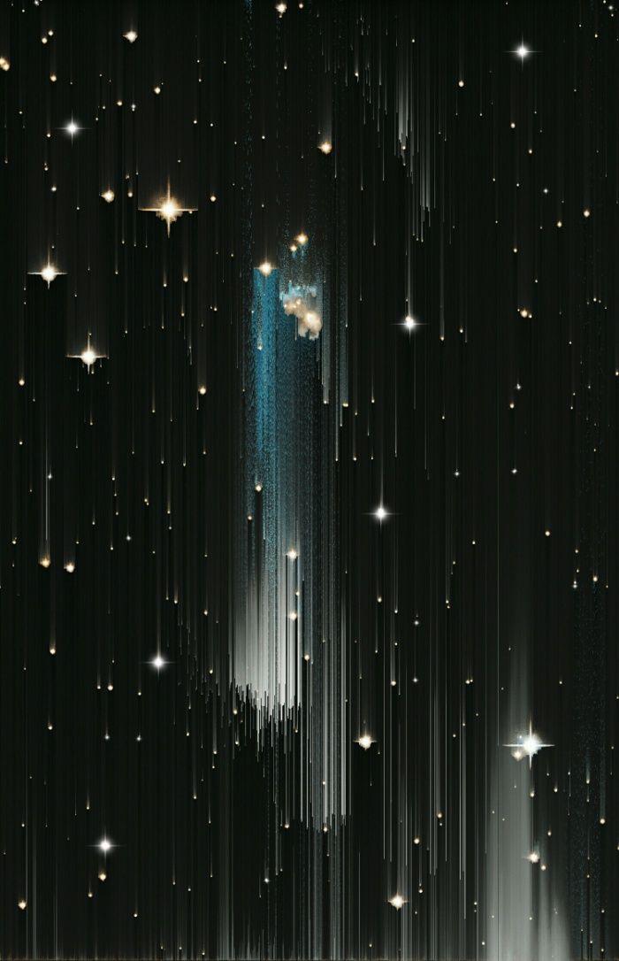 Digital glitch design, Stars, space, blue, black, falling stars