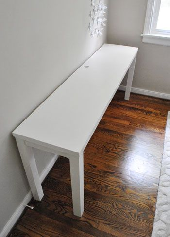 DIY Desk made out of old door. $5 shiny wood door from Habitat Restore and Some brightly painted legs= Mark's home office. Doory handle hole is great for outlet access. Yay! total project cost=$40