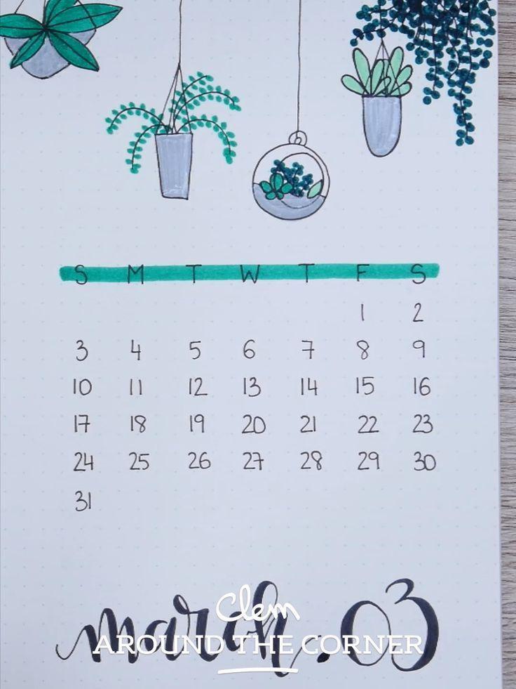 BUJO Monthly Cover: March Indoor Garden Inspiration