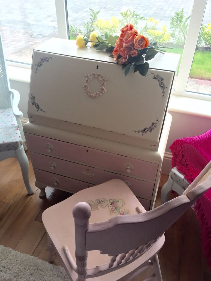 Antique Shabby Chic writing bureau with Queen Anne legs. Please check out: Shabby Chic in Laois on Facebook. Painted in antique rose from authentico and linen from General finishes.