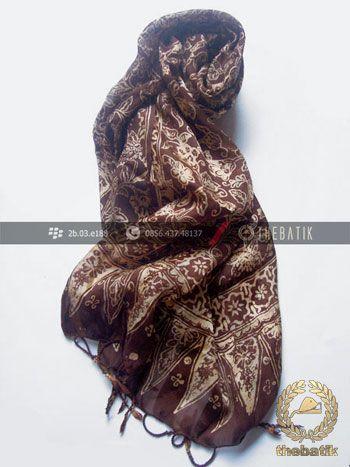 Selendang Batik Murah Grosir Warna Coklat Tua | #Indonesia #Batik #Scarves Shawl Wholesale http://thebatik.co.id/syal-selendang-batik/