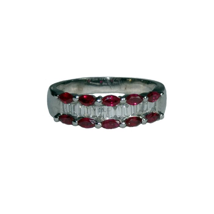 Half eternity ring in 18 ct white gold  with 10 marquise shaped rubies and baguette diamonds