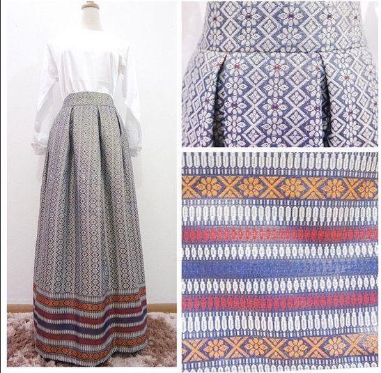 Indigo Maxi Songket Skirt