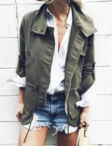 army jacket, white shirt, cut off denim shorts | outfit inspiration