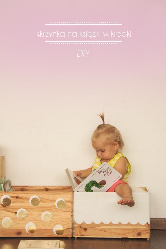 Srzynka na książki lub zabawki w kropki- DIY Box for toys or books for children  http://kukumag.com/pl/