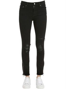 amiri - damen - jeans - jeans aus denim mit rissen und lederpatches