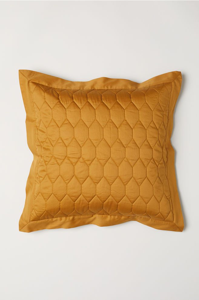 Quilted Cushion Cover Mustard Yellow H M Us 1