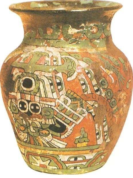 Сосуд с фресковой полихромной росписью. Культура Теотихуакана. I тыс. н.э.