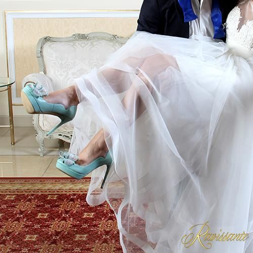 Something blue...they're for you <3 . Romantic bow high heels.