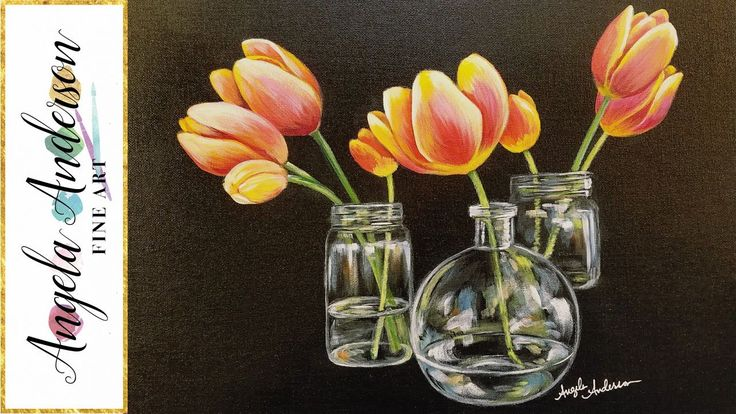 How to Paint Tulips in Glass Vases with Acrylics Step by Step Tutorial