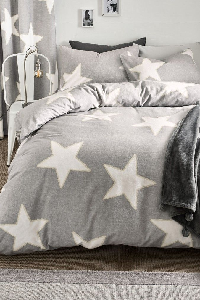 Next Brushed Cotton Stars Duvet Cover And Pillowcase Set Grey 100 Cotton Duvet Covers Brushed Cotton Bedding Duvet Covers