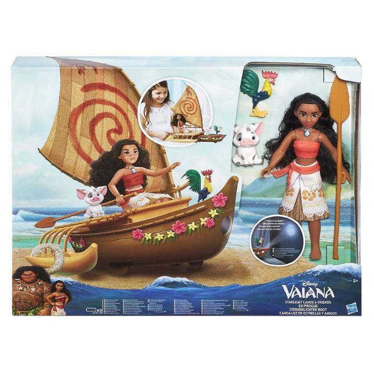 Disney Princess Pop Vaiana met Zeilboot  Met deze fantastische sterrenlichtjesboot zeilt prinses Vaiana nieuwe avonturen tegemoet. De boot projecteert sterren op de muur of voor de boeg om Vaiana en haar vriendjes Pua en Hei Hei de weg te wijzen. De boot kan niet in het water. Batterijen: 3x AAA LR03zijn niet inbegrepen.  EUR 101.95  Meer informatie