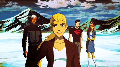 "Season 1 Episode 7 Denial: Aqualad, Artemis, Superboy, & Miss Martian looking at Wally. Artemis: ""Well?"" Wally: ""Ever heard of string theory? We're in a pocket dimension."" Artemis: ""Ugh!"""