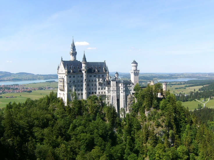 Neuswanstein Castle near the border between Germany and Austria
