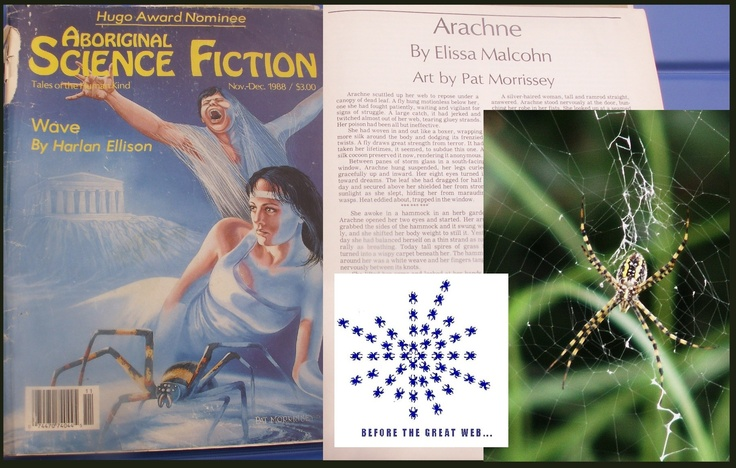 "Story on Cowbird, ""Weaving Without a Loom,"" tells of how my short story ""Arachne"" came to be.  Inspired by Barbara Shipka's ""Spider."""