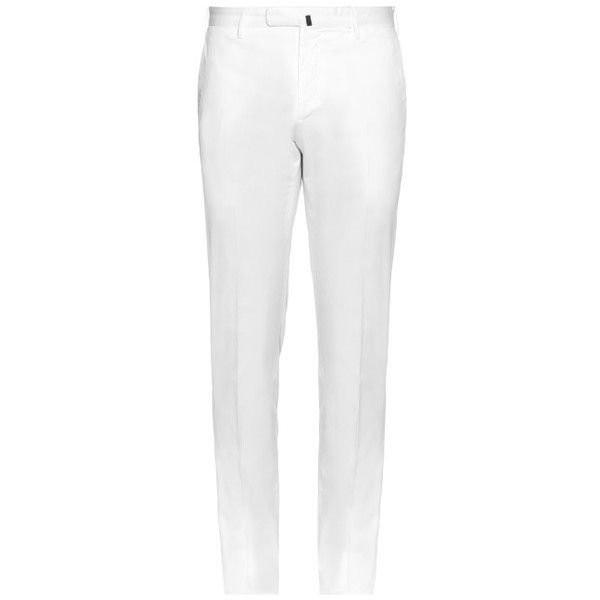 Incotex Slim-fit cotton-blend twill chino trousers ($250) ❤ liked on Polyvore featuring men's fashion, men's clothing, men's pants, men's casual pants, white, mens white chino pants, mens slim fit twill pants, mens slim pants, mens chinos pants and mens white pants