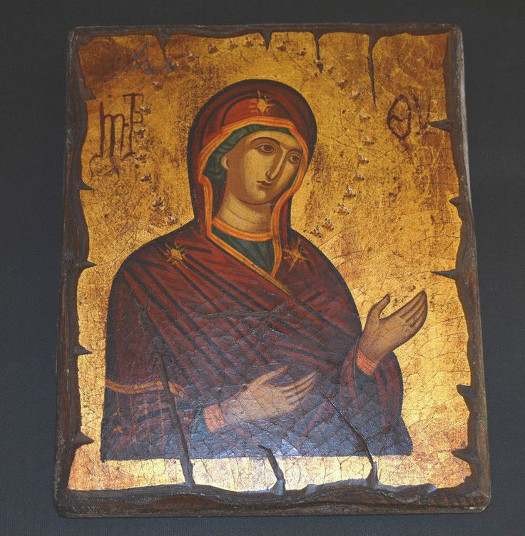 Orthodox Icon Handpainted Greek Byzantine Virgin Mary