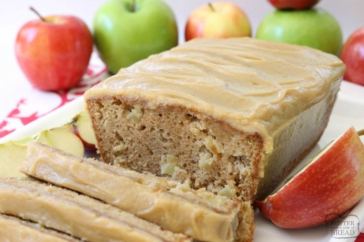 CARAMEL APPLE BREAD - Butter with a Side of Bread-Caramel Apple Bread bursting with fresh apple, spiced with cinnamon and nutmeg, then topped with an incredible 3 ingredient caramel glaze topping.