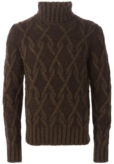Slim fit turtleneck sweater by Al Duca d'Aosta 1902 in brown wool and mohair with cable knit, ribbed turtleneck, cuffs and bottom.