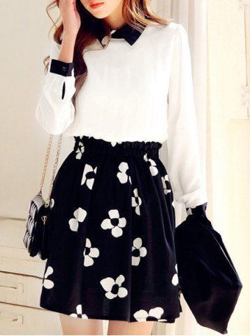 Refreshing Style Flat Collar Floral Print Slimming Long Sleeve Women's Dress