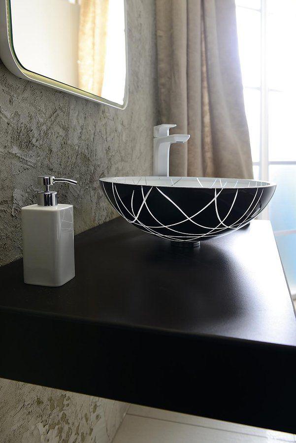 MURANO LINEA skleněné umyvadlo kulaté 40x14 cm, černá a bílá, SAPHO E-shop