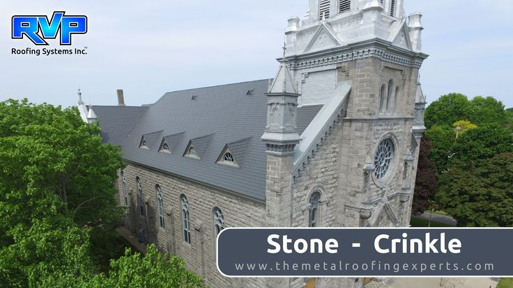 "This project is worthy of a road trip! Nestled amongst the trees, in the town of Cornwall, this church, was completed in 1896. Our ""Stone- Crinkle"" roof is a perfect compliment to the old brickwork, preserving its historic dignity. The parish won't have to worry about replacing the roof again- for a very long time! We have the best installers in the business. For more examples of our projects visit us at www.rvp-roofing.com.  #rvp #highstrengthsteel #armadura #permanentroof #stcolumbanparish"