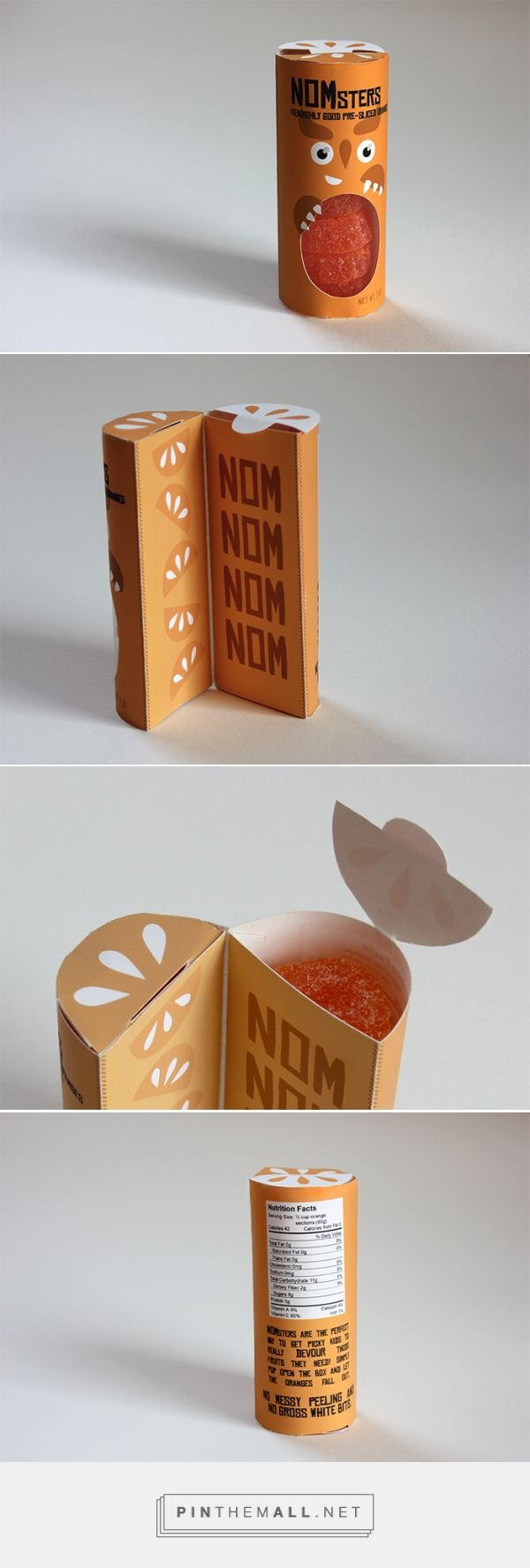 NOMsters Pre-Sliced Oranges, designed by Megan Carrell. Pin curated by #SFields99 #packaging #design