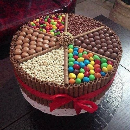 Round cake pan Chocolate wafers Smarties Astros  Whispers Broken flake chocolate Tumblers chocolate balls Broken white flake chocolate