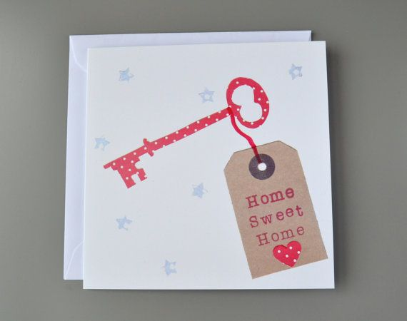 Home Sweet Home Key New Home Card by LittleRedAppleCards on Etsy