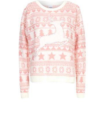 Pink and white prancing reindeer fairisle christmas jumper 163 27 99