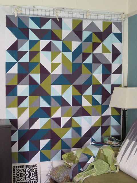 Sewkatiedid - the colours are incredible on this 1/2 square triangle quilt.